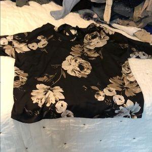 Silky Black Floral Blouse